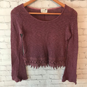 LA Hearts Cropped Sweater Top Crocheted